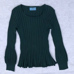 CeCe**Green Ribbed Fitted Sweater Top**Sm $128